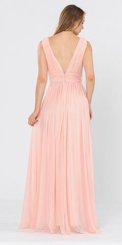 Blush V-Neck and Back Long Formal Dress Sleeveless
