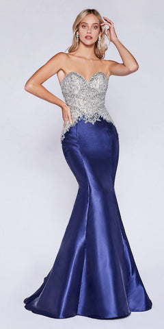 Cinderella Divine 84099 Floor Length Strapless Mermaid Fitted Gown Navy Blue Beaded Bodice