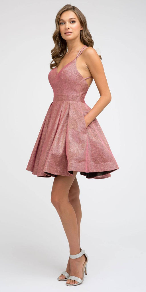 Juliet 841 Super Cute Metallic Short Coral Damas Dress A-Line Pockets