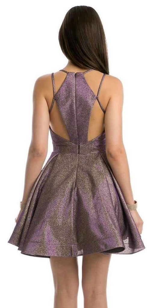 Stylish Back Metallic Short Homecoming Dress Purple/Gold
