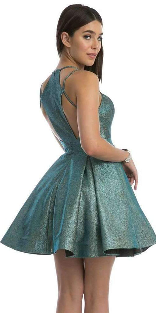 Stylish Back Metallic Short Homecoming Dress Teal/Gold