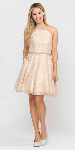Poly USA 8410 Metallic Lace Halter Homecoming Short Dress Champagne