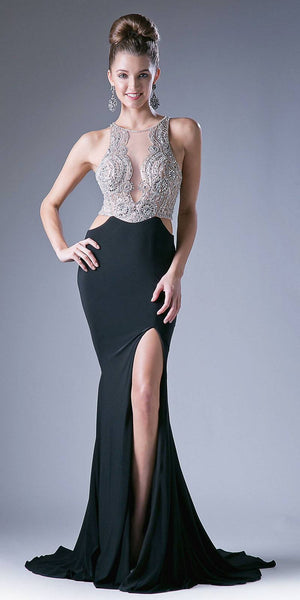 Black Cut-Out Waist Beaded Top Long Prom Dress with Slit