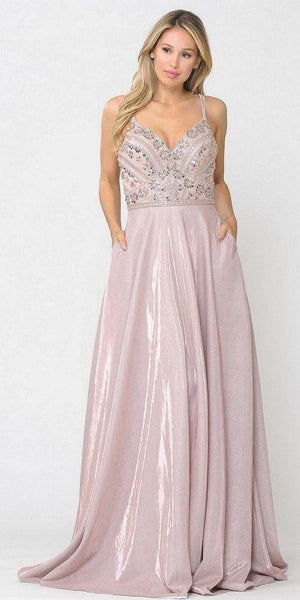 Embellished Rose Gold Long Prom Dress with Pockets