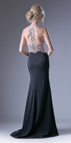 86c839a8187 Cinderella Divine 84174 Fitted Sheath Black Dress Cut Out Gown Beaded  Halter Illusion Neckline T-