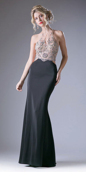 Cinderella Divine 84174 Fitted Sheath Black Dress Cut Out Gown Beaded Halter Illusion Neckline T-Back