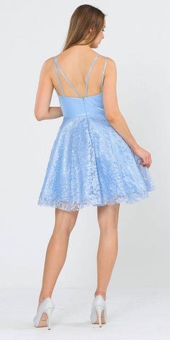 Baby Blue V-Neck Short Homecoming Dress with Pockets