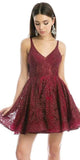 Burgundy Homecoming Short Dress Criss-Cross and Cut-Out Back