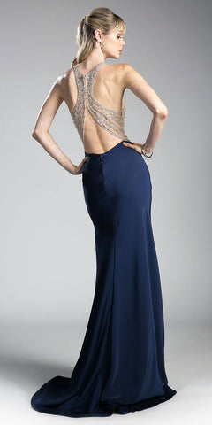 Beaded Long Prom Dress Keyhole Bodice Navy Blue