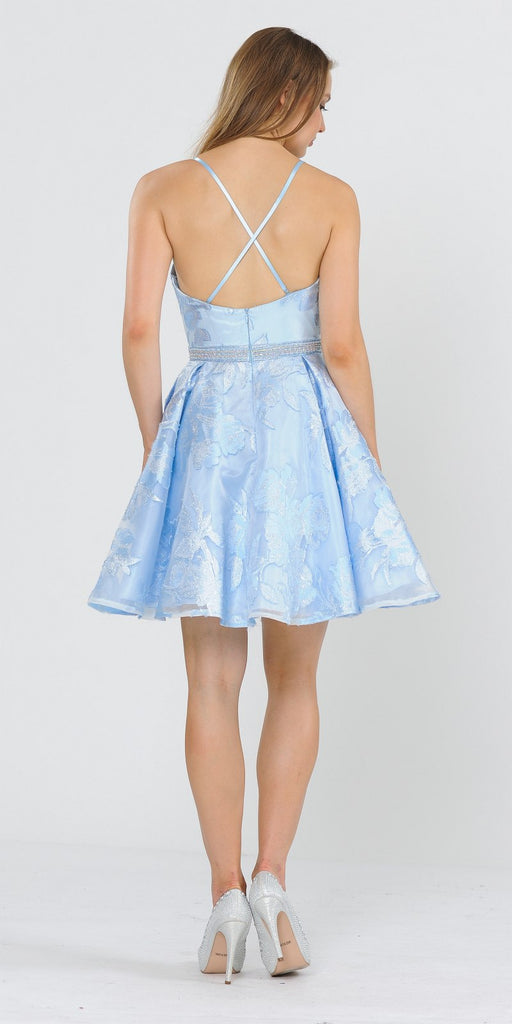Criss-Cross Back Short Homecoming Dress Baby Blue