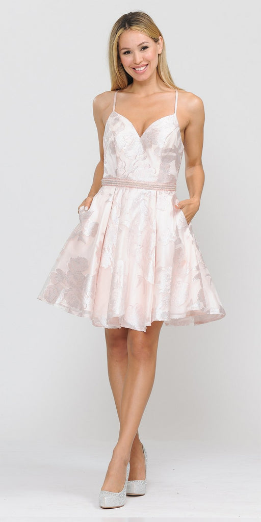 Poly USA 8422 Criss-Cross Back Short Homecoming Dress Blush