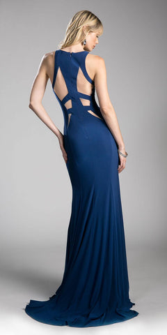 Navy Blue Floor Length Prom Dress with Cut Outs Back View