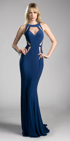 Navy Blue Floor Length Prom Dress with Cut Outs