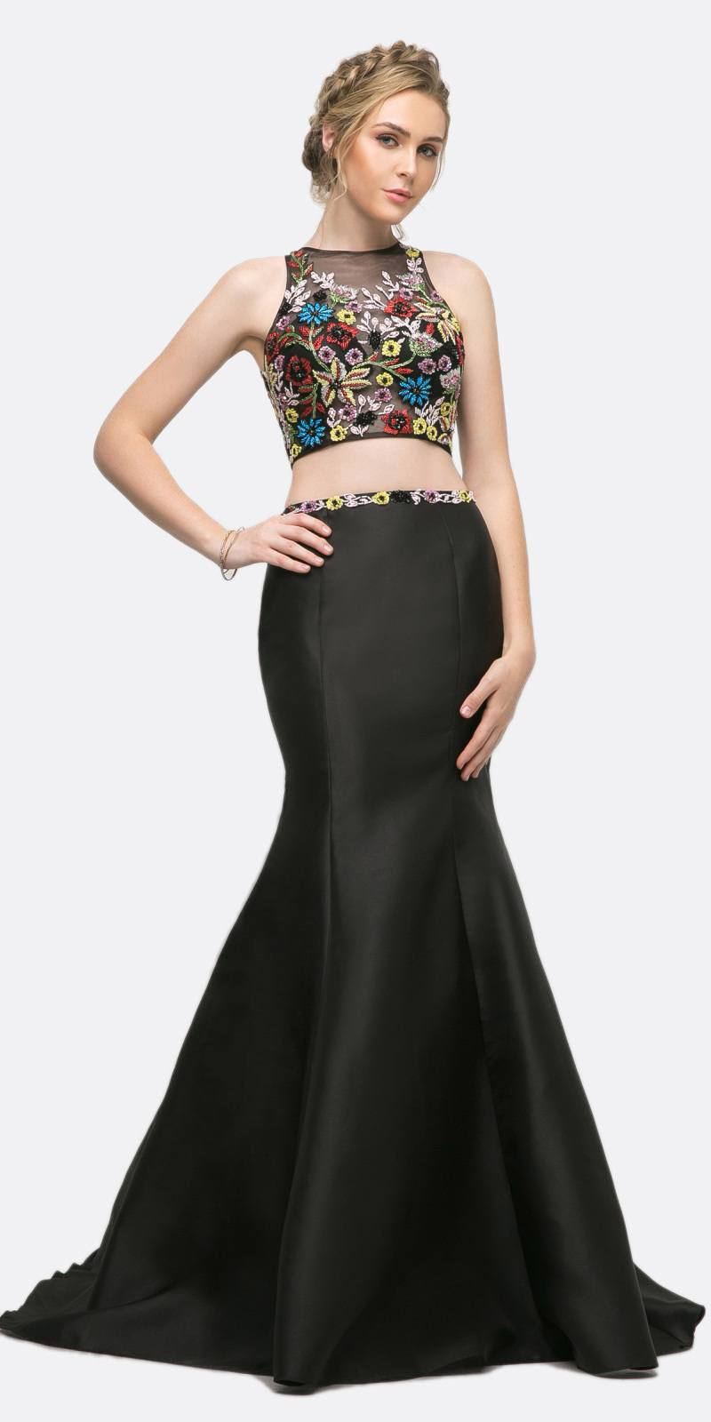 b559e9eed836 Cinderella Divine 84267 Two Piece Mermaid Dress Black Mikado Skirt Keyhole  Back ...