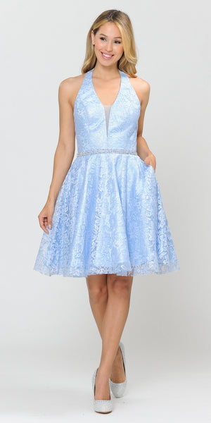 Poly USA 8428 Halter V-Neck Lace Homecoming Short Dress Baby Blue
