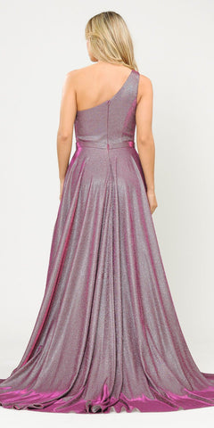 Poly USA 8430 Magenta One-Shoulder Long Prom Dress with Pockets