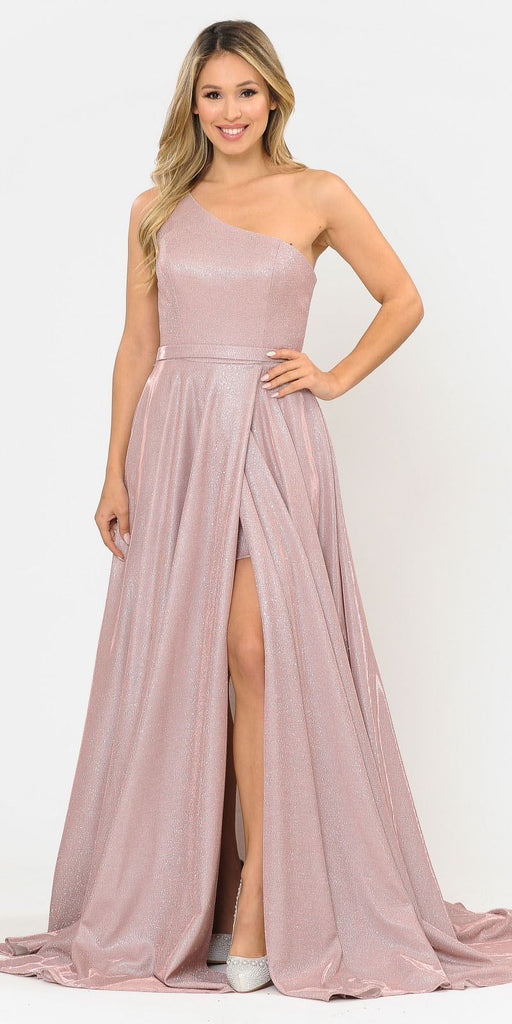 Poly USA 8430 Rose Gold One-Shoulder Long Prom Dress with Pockets