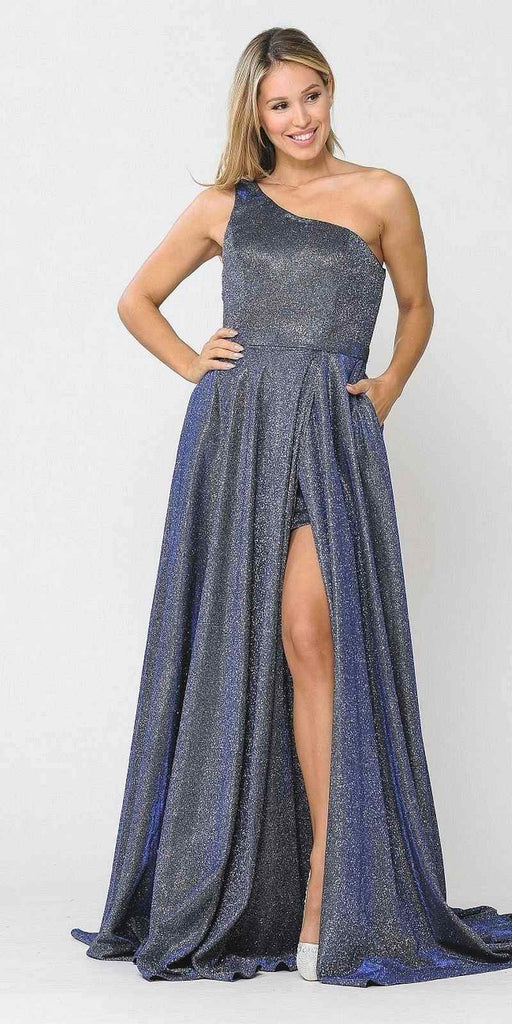 Poly USA 8430 Royal Blue One-Shoulder Long Prom Dress with Pockets