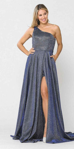 Royal Blue Embellished Waist Long Prom Dress V-Neck