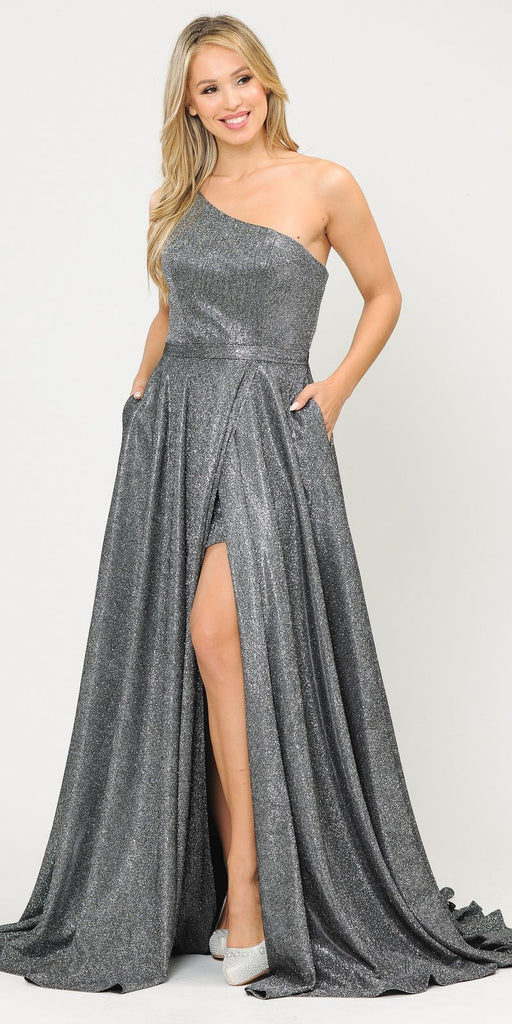 Poly USA 8430 Silver/Black One-Shoulder Long Prom Dress with Pockets