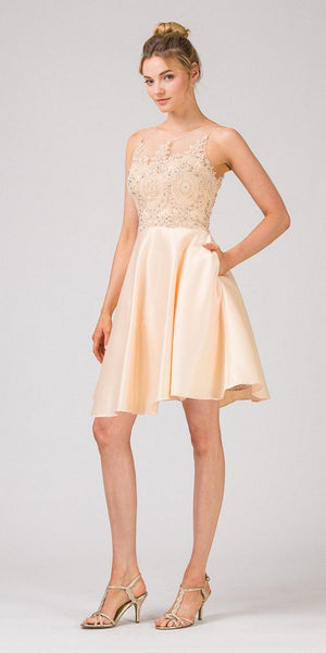 Keyhole Back Homecoming Short Dress with Pockets Champagne