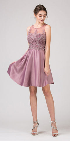 Keyhole Back Homecoming Short Dress with Pockets Mocha