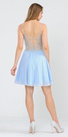 Baby Blue Homecoming Short Dress Embellished Bodice