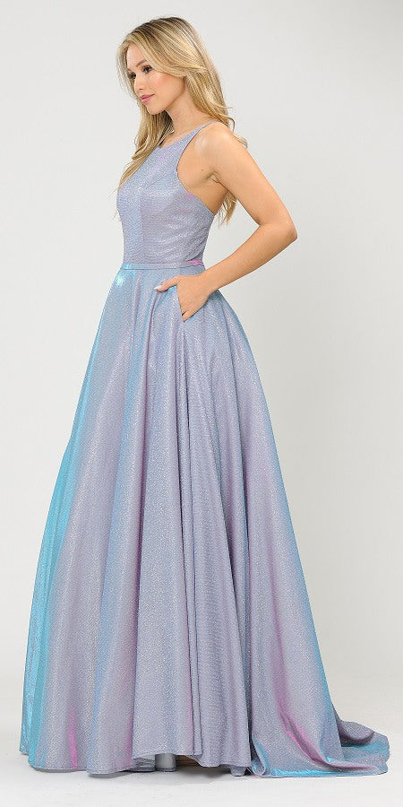 Lavender Long Prom Dress with Criss-Cross Back and Pockets