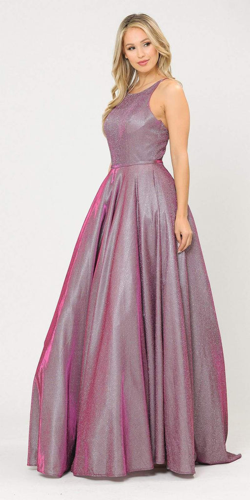 Magenta Long Prom Dress with Criss-Cross Back and Pockets