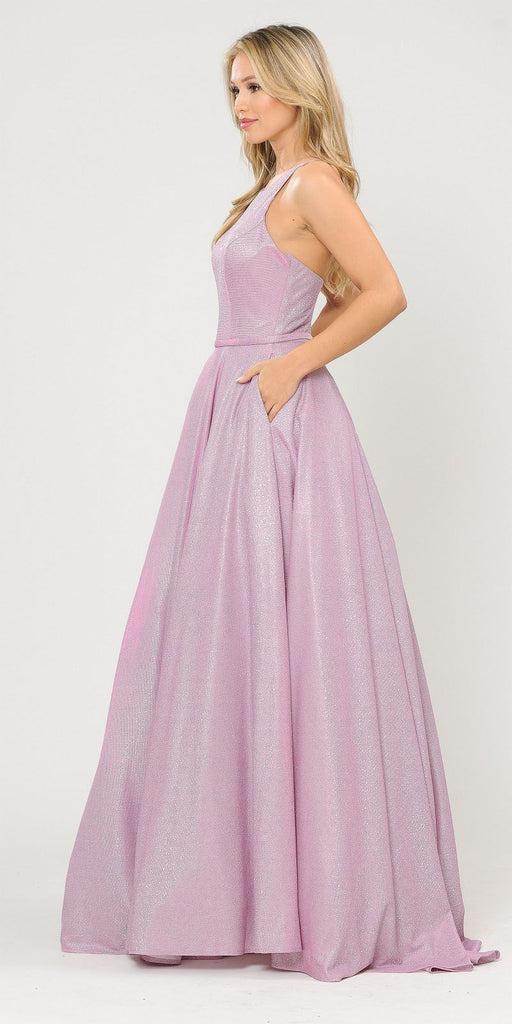 Pink/Lilac Long Prom Dress with Criss-Cross Back and Pockets