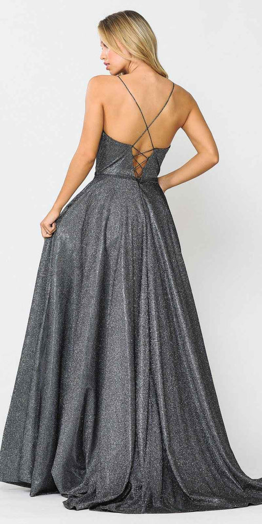 Black/Silver Long Prom Dress with Criss-Cross Back and Pockets