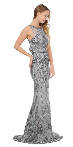 Sequins Mermaid Long Prom Dress Cut-Out Back Charcoal
