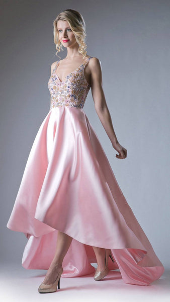 Blush Cut-Out Back High and Low Prom Gown