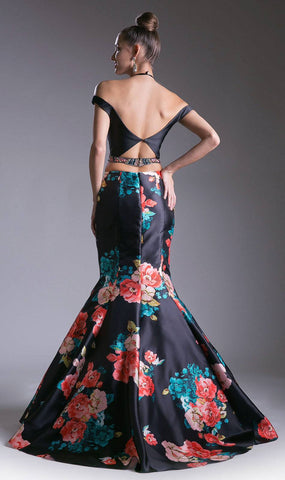 Print Skirt Halter Crop Top Two-Piece Mermaid Prom Gown