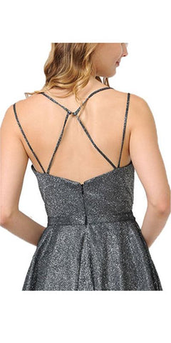 Silver Short Metallic Party Dress with Strappy Back