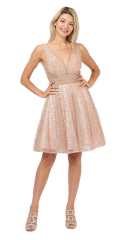 Rose Gold Sequins Homecoming Short Dress V-Neck and Back