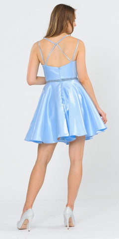 Embellished Waist with Pockets Homecoming Short Dress Baby Blue
