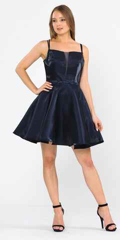 Embellished Waist with Pockets Homecoming Short Dress Navy Blue