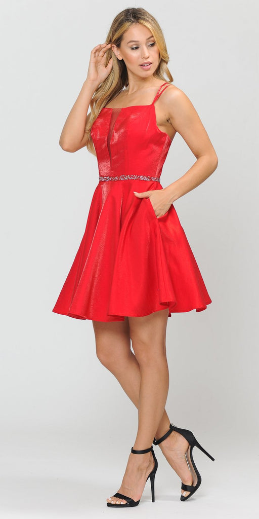 Poly USA 8447 Embellished Waist with Pockets Homecoming Short Dress Red