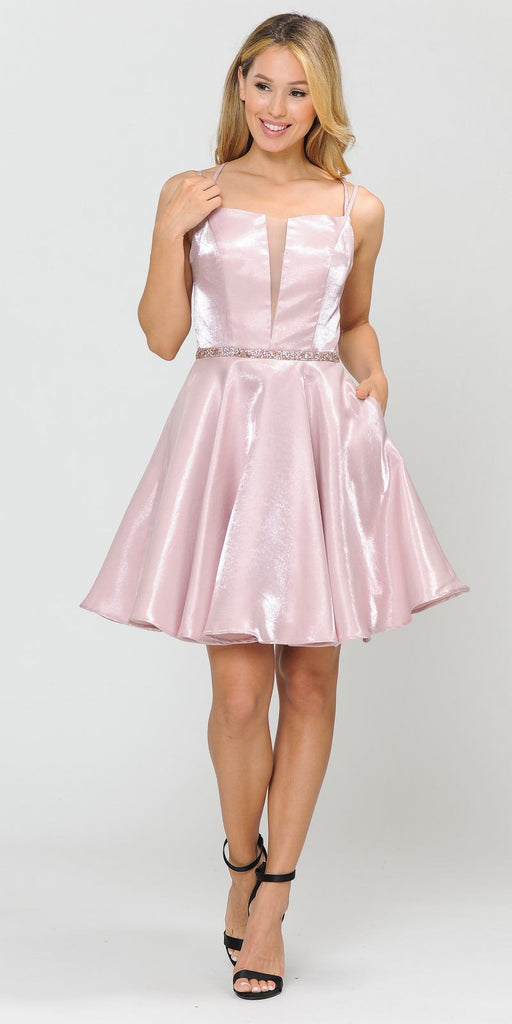Poly USA 8447 Embellished Waist with Pockets Homecoming Short Dress Rose Gold