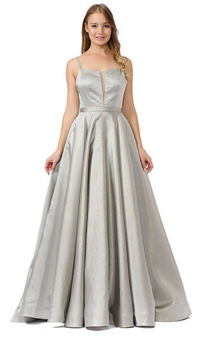 Double-Strap A-Line Long Prom Dress with Pockets Gray
