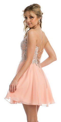 Rhinestone Embellished Short Dress Lace-Up Back Blush