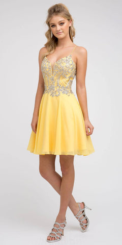 Rhinestone Embellished Short Dress Lace-Up Back Yellow