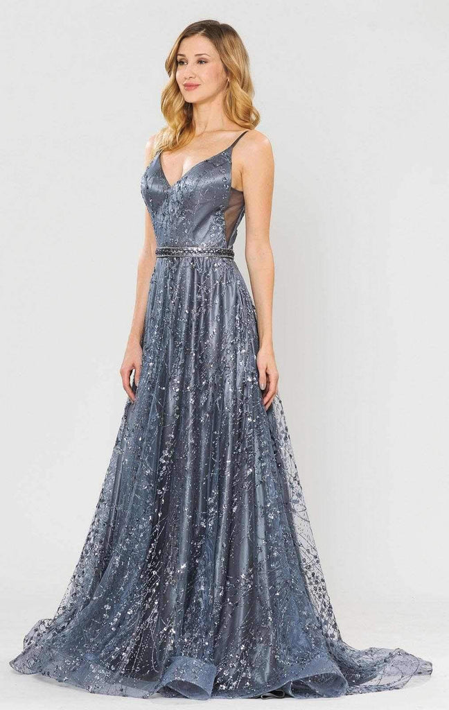 Poly USA 8450 Lace-Up Back Glittery A-Line Long Prom Dress Gun Metal