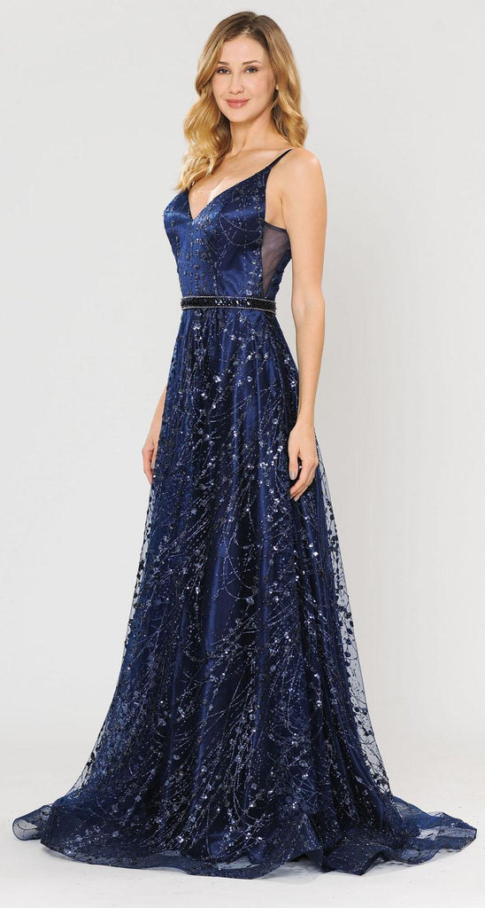 Poly USA 8450 Lace-Up Back Glittery A-Line Long Prom Dress Navy Blue