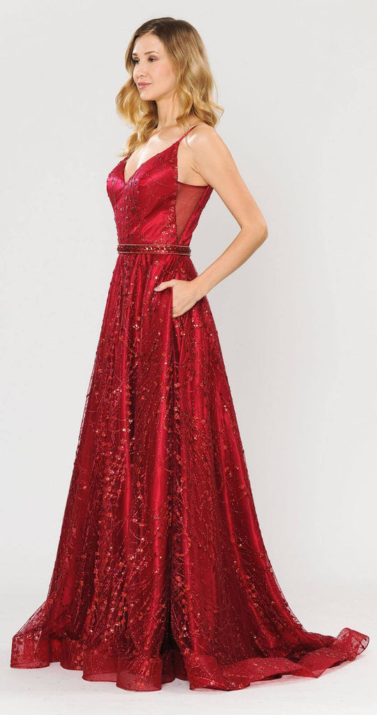 Poly USA 8450 Lace-Up Back Glittery A-Line Long Prom Dress Red