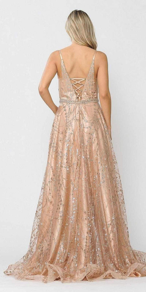 Poly USA 8450 Lace-Up Back Glittery A-Line Long Prom Dress Rose Gold