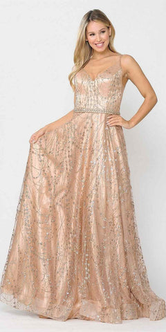 Deep V-Neck with Sheer-Inset Blush Prom Ball Gown