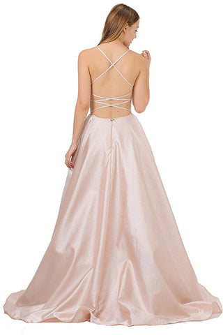 Strappy Back Long Prom Dress with Pockets Blush