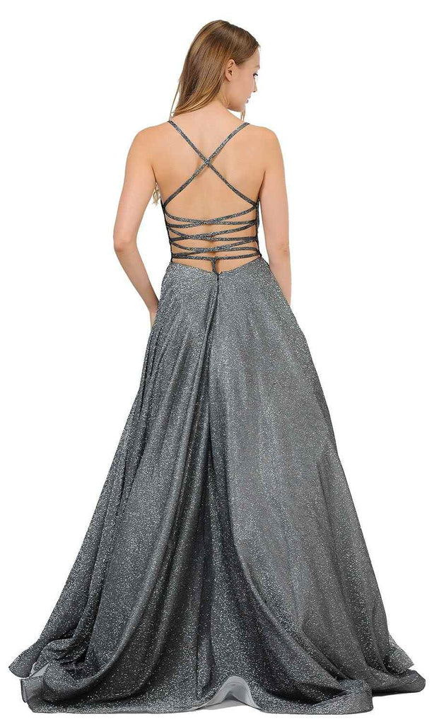 Black/Silver Glitter Long Prom Dress with Pockets